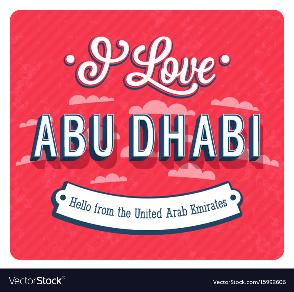 Vintage greeting card from abu dhabi vector image