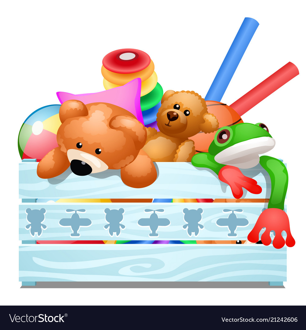 Wooden crate with soft plush toys isolated on