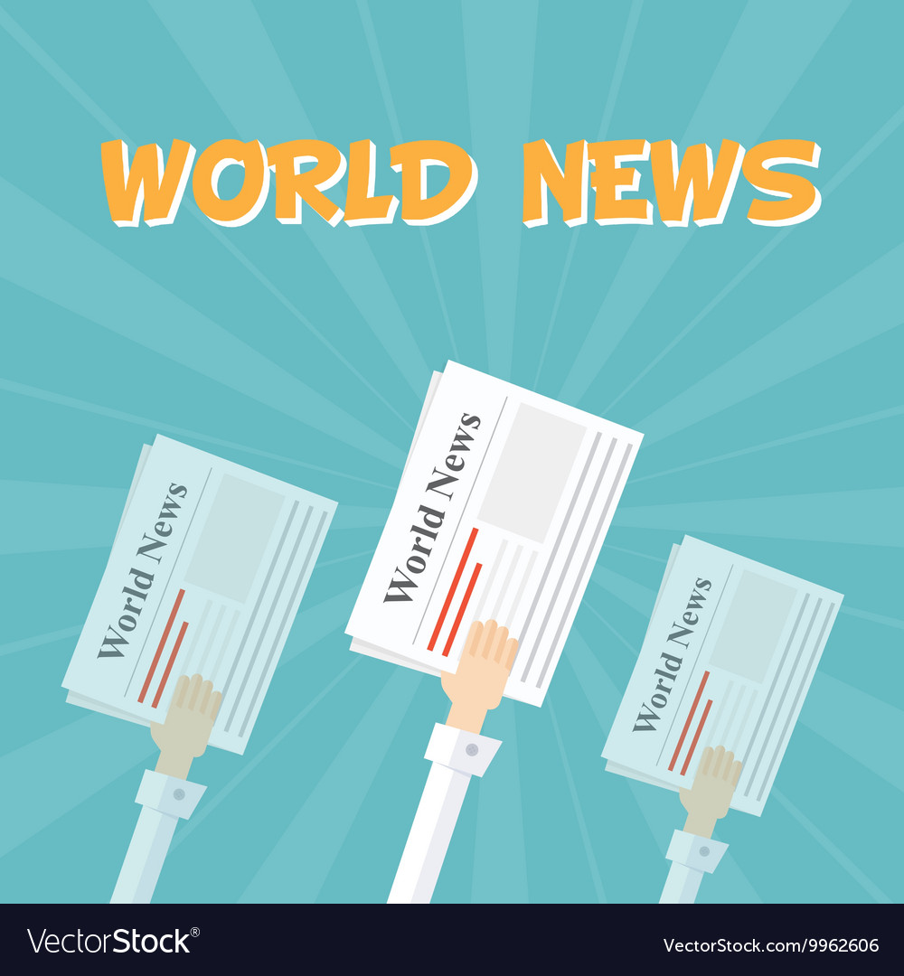 World News Outstretched hand with news papers