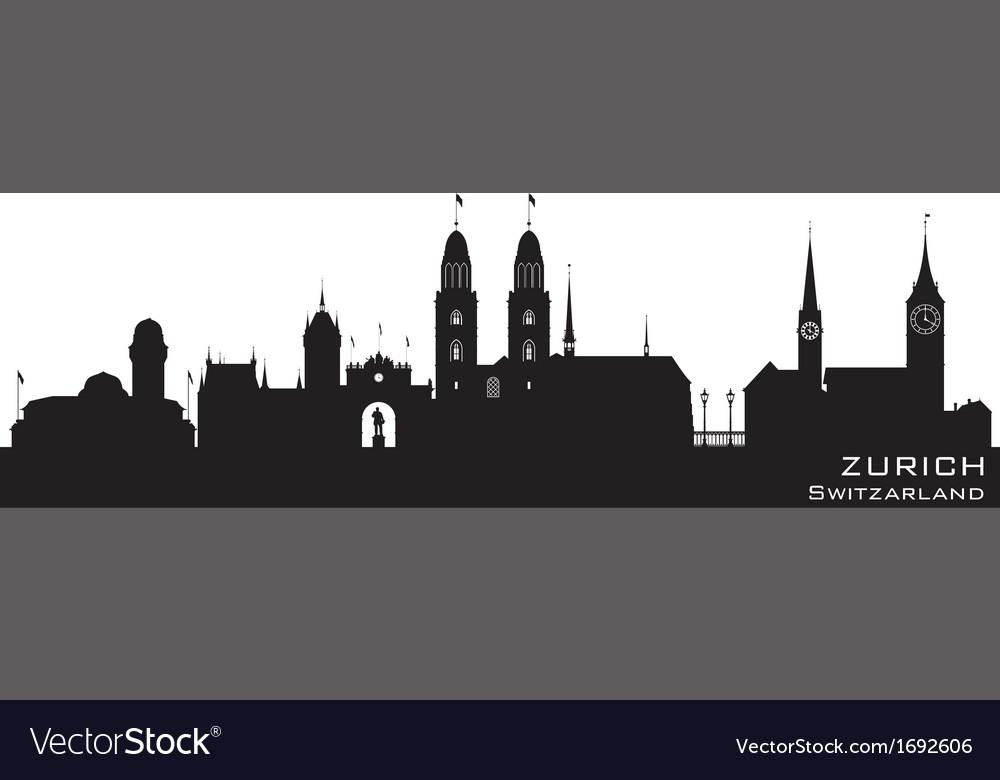 Zurich Switzerland skyline Detailed silhouette vector image