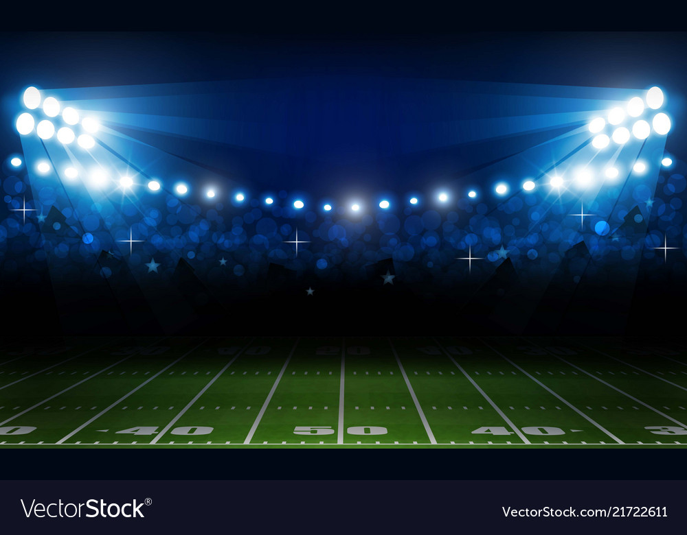 American football arena field with bright stadium
