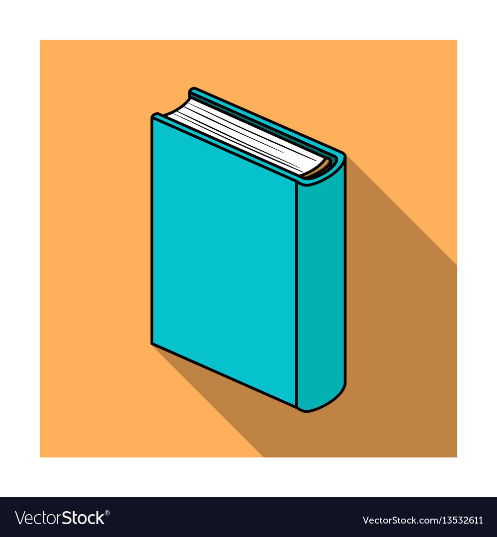 Blue standing book icon in flat style isolated on vector image