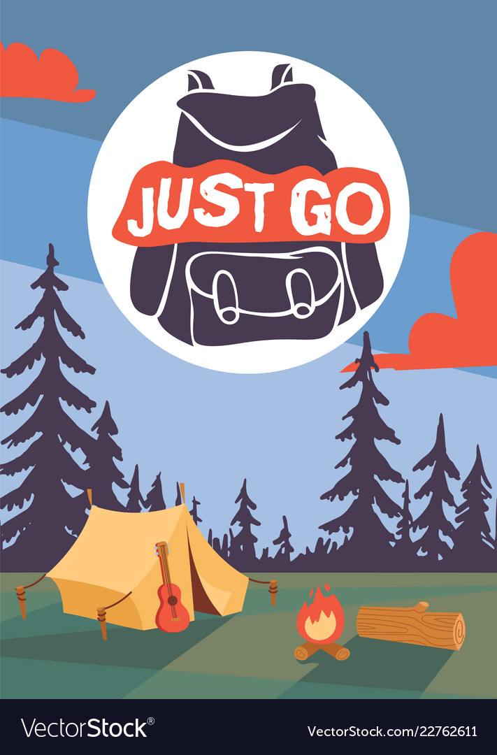 Camping time poster ilustration night