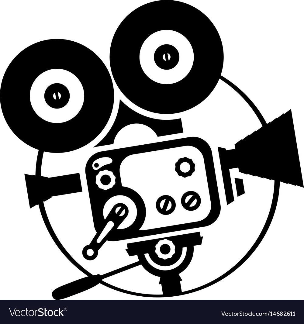 drawing old fashioned movie camera royalty free vector image