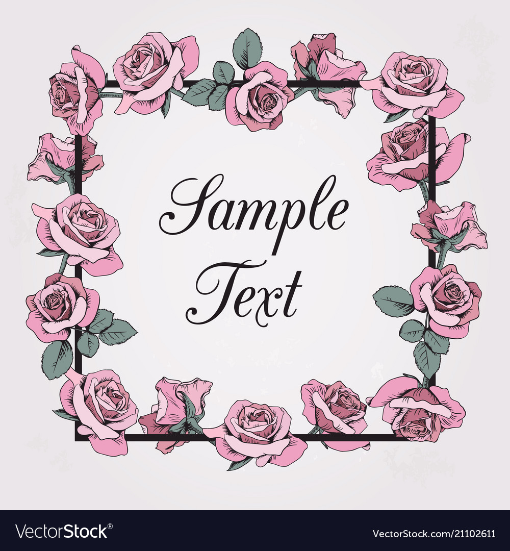 Floral frame with sample text on beige background