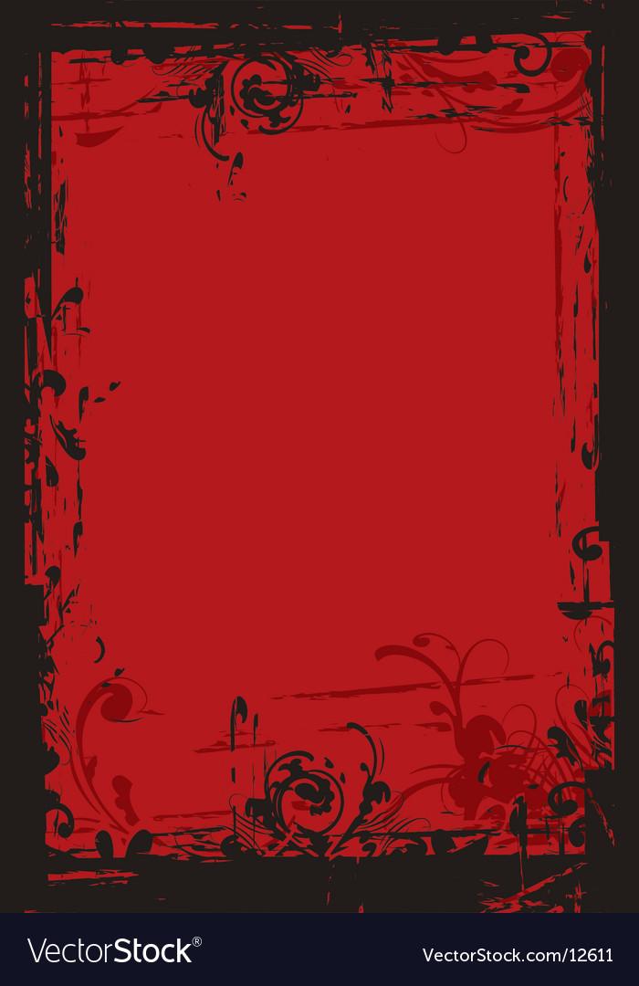 Grunge floral border vector image