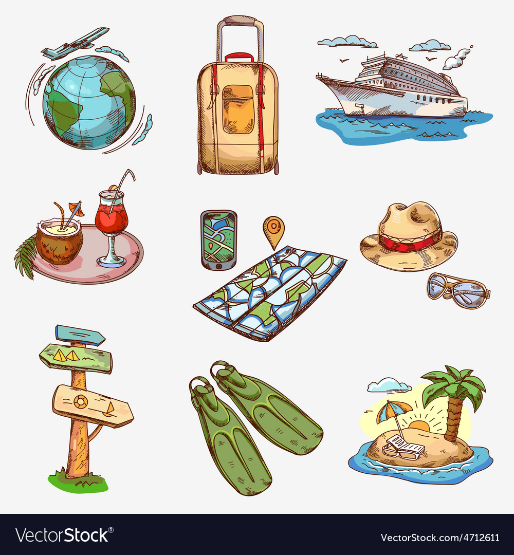 Hand drawn travel icons traveling on airplane