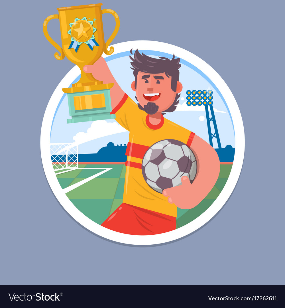 Happy soccer champions with winners cup soccer vector image