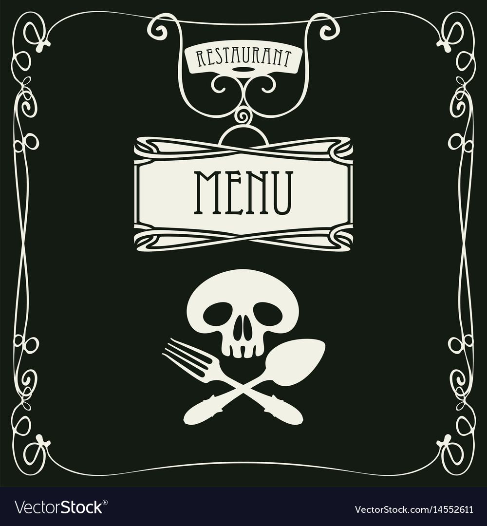 Menu with human skull with a spoon and fork