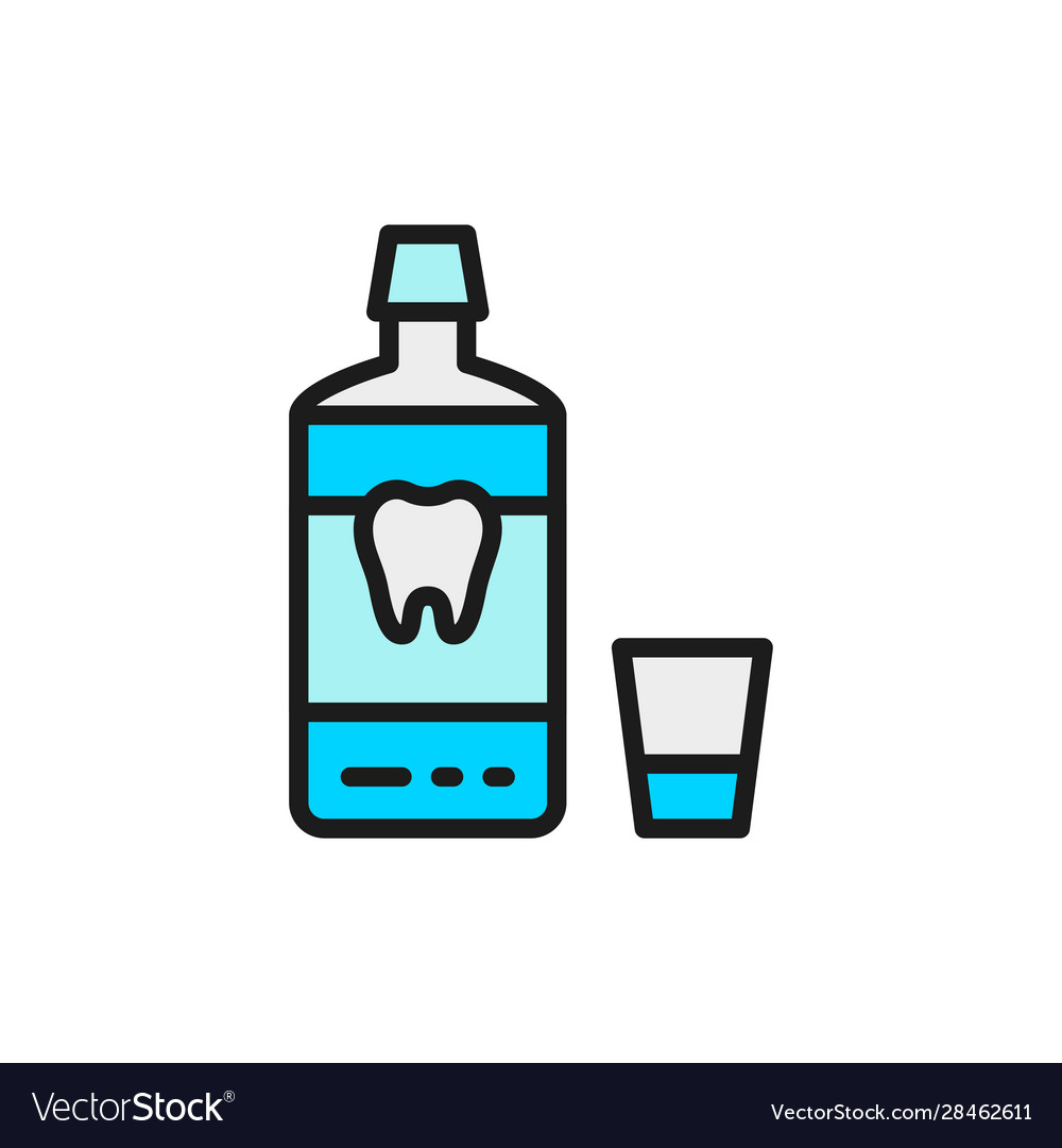 Mouthwash mouth rinse dental care flat color