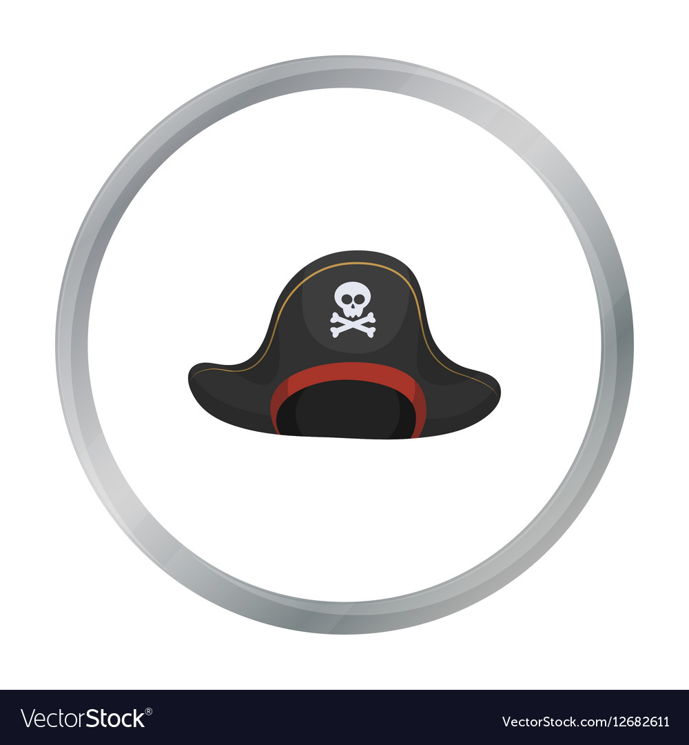 Pirate hat with skull icon in cartoon style