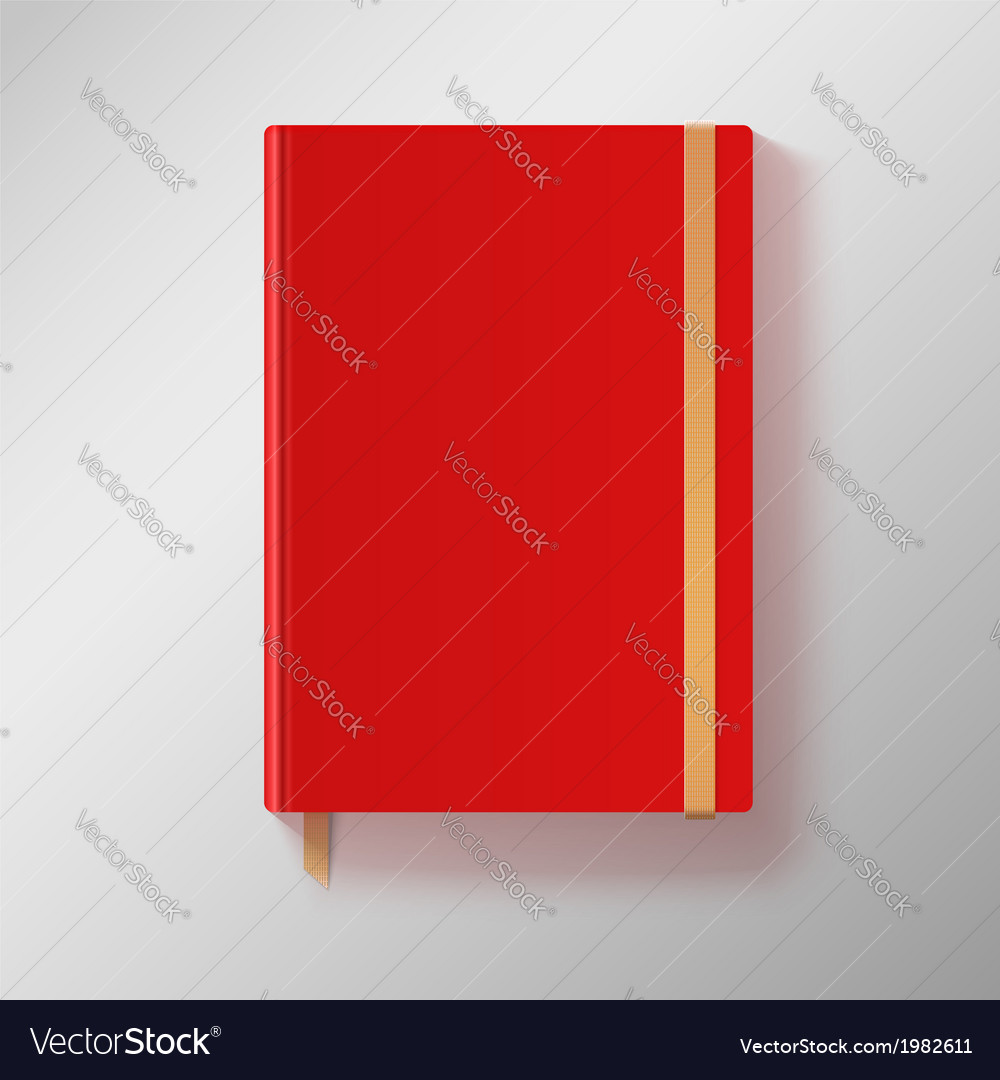 Red copybook with elastic band and gold bookmark