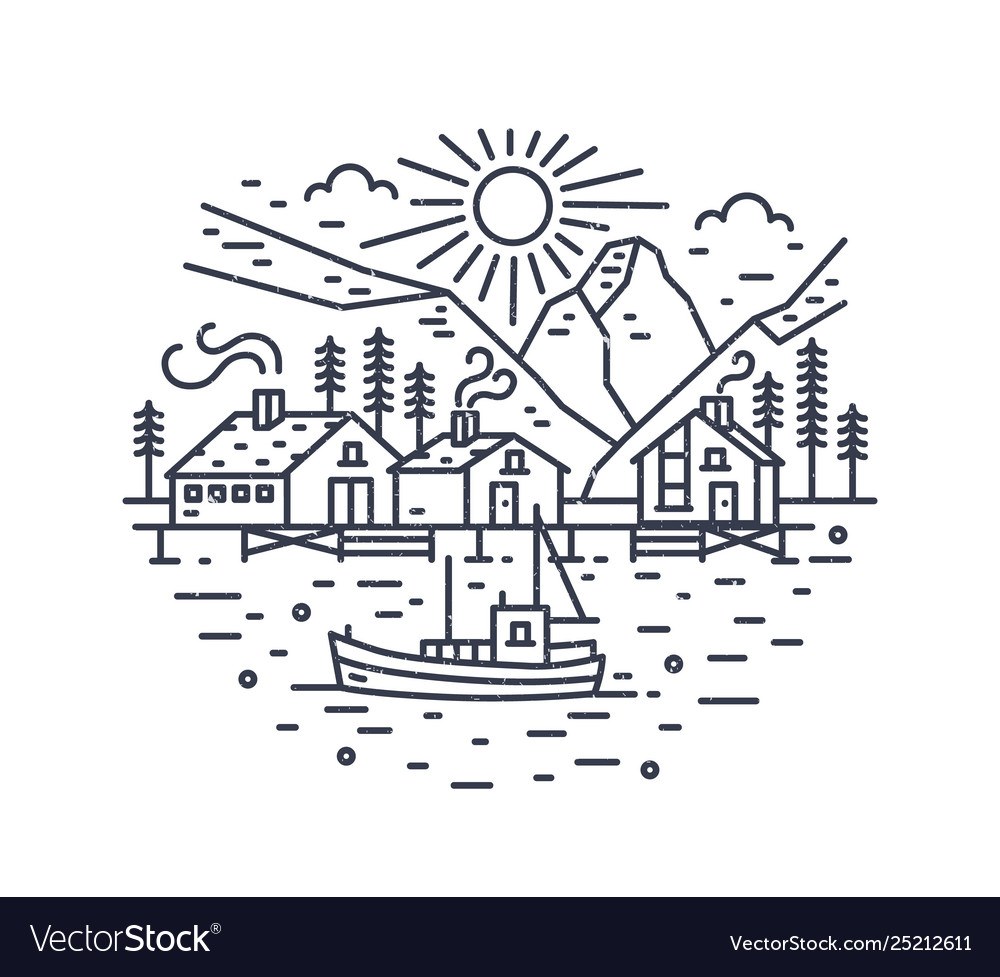 Round landscape with ship sailing in sea houses