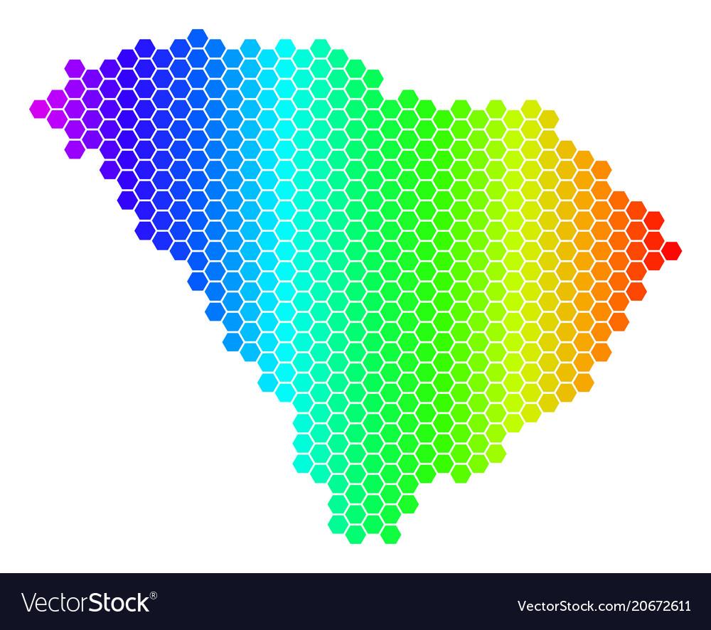 Spectrum hexagon south carolina state map Vector Image
