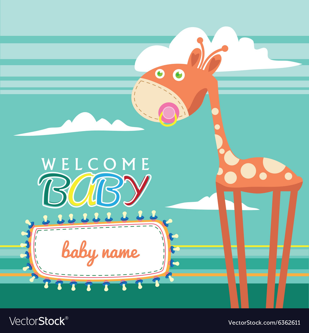 Welcome Baby Born Greeting Card Cute Royalty Free Vector