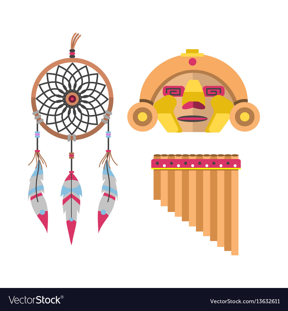 Wild west american indian designed element
