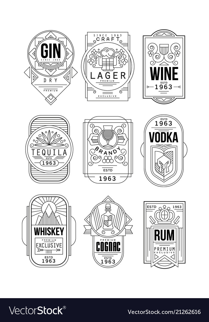 Alcohol labels set gin lager wine tequila