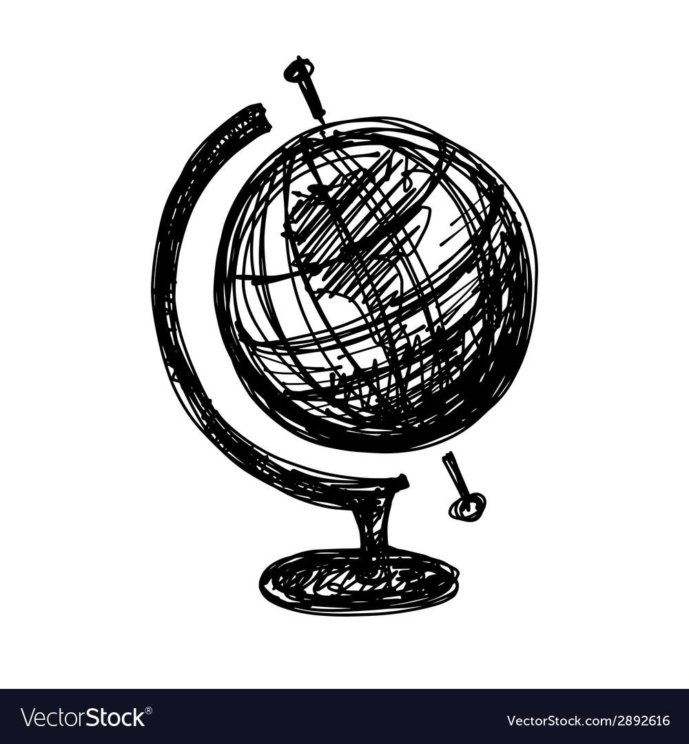 Black Sketch Drawing Of Globe Vector Image