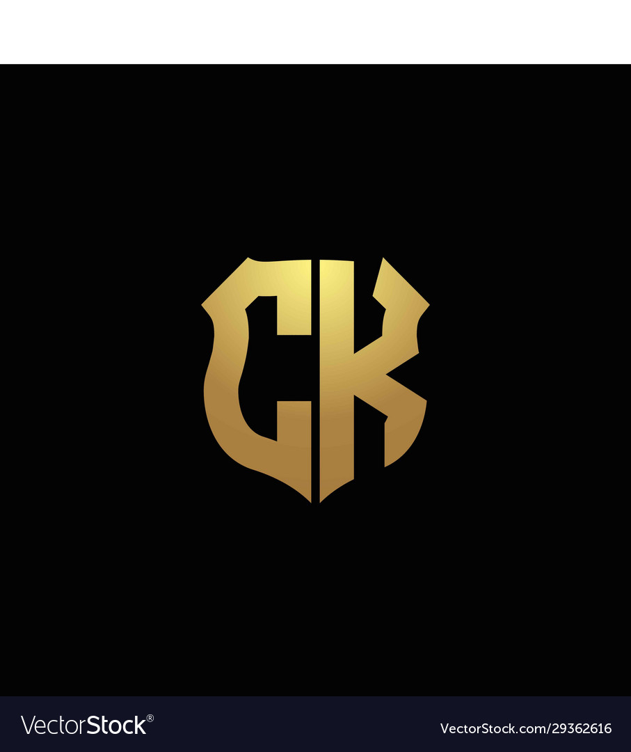 Ck logo monogram with gold colors and shield Vector Image