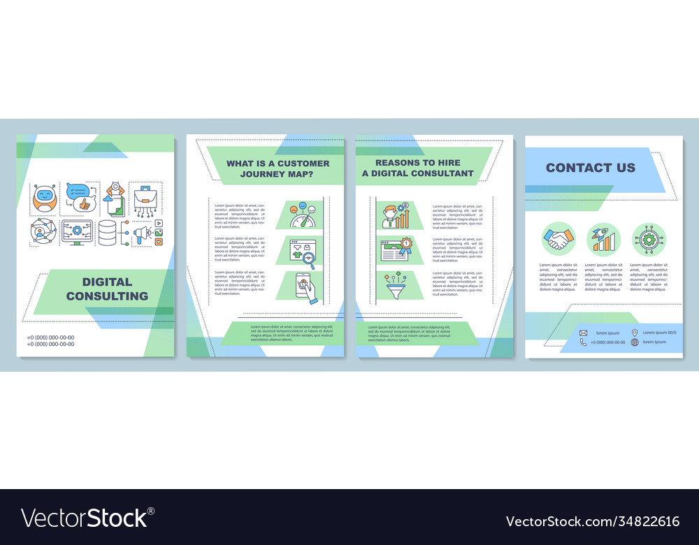 Digital Consulting Brochure Template Royalty Free Vector