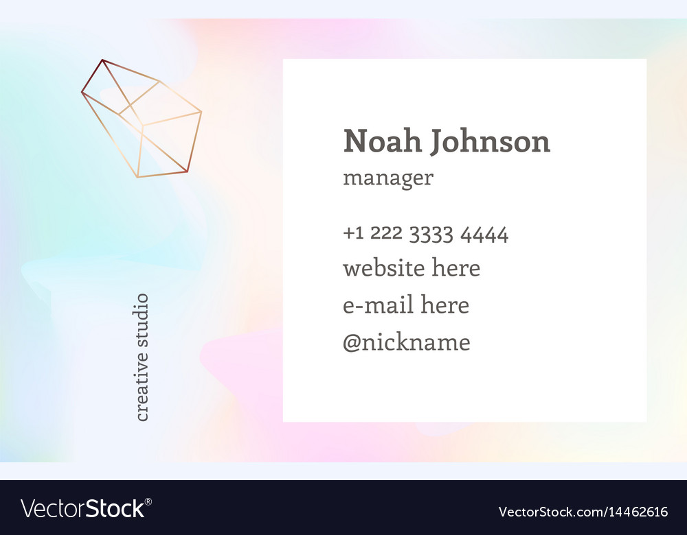Double Sided Business Card Template Crystal Logo Vector Image