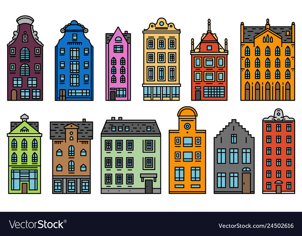 Europe house and apartments set cute
