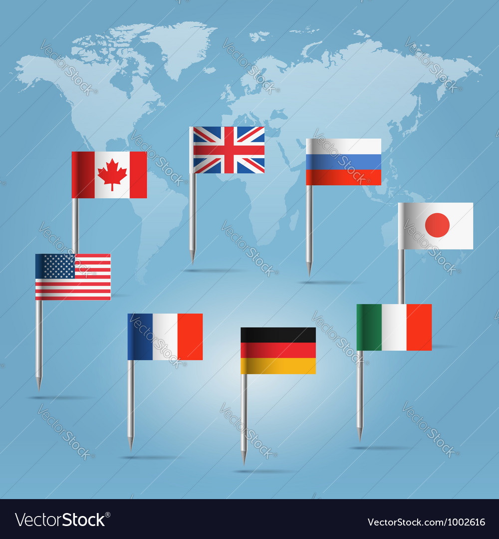 G8 Countries Flag Pins Over World Map Royalty Free Vector