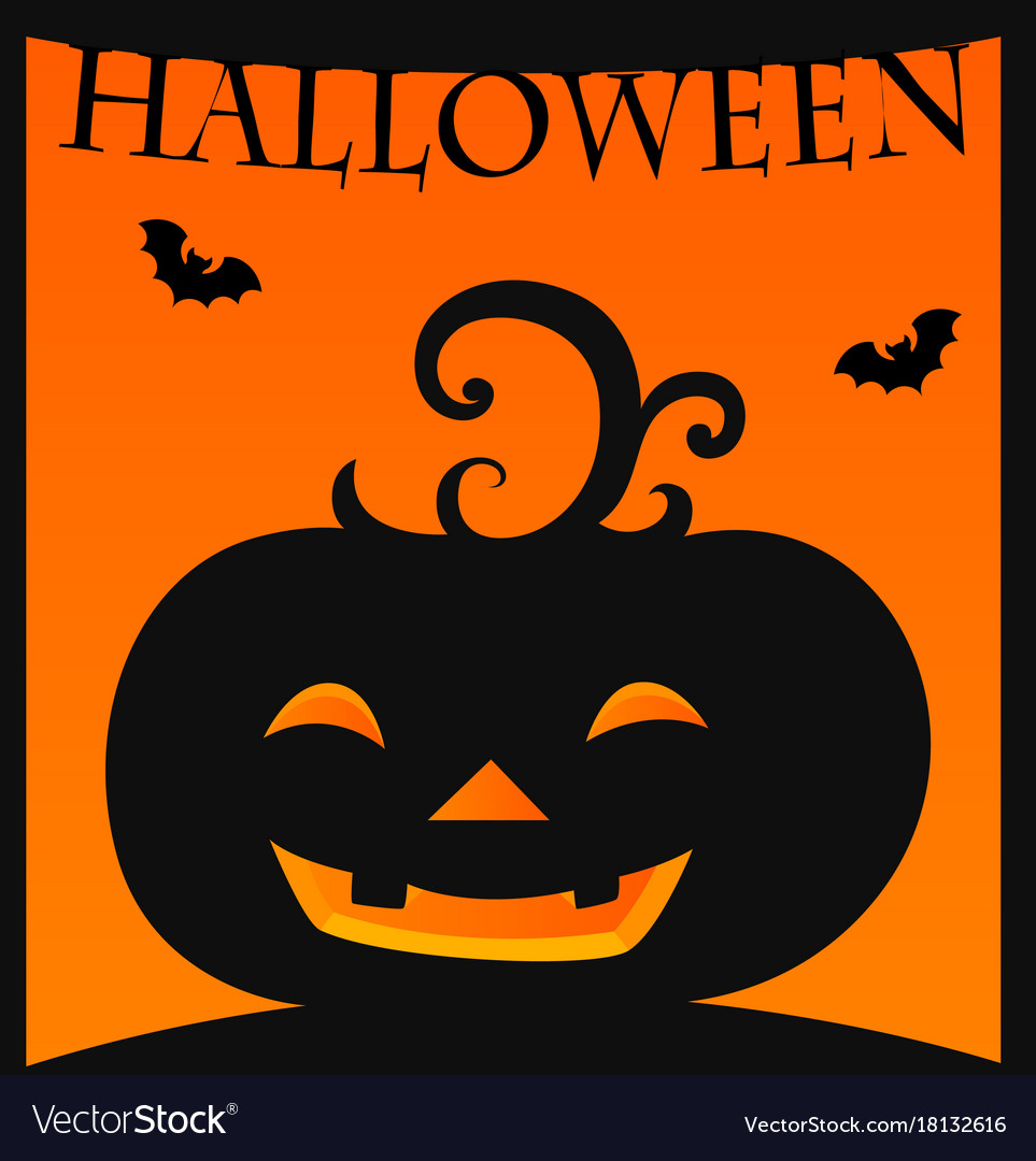 halloween card template with jack o lantern vector image