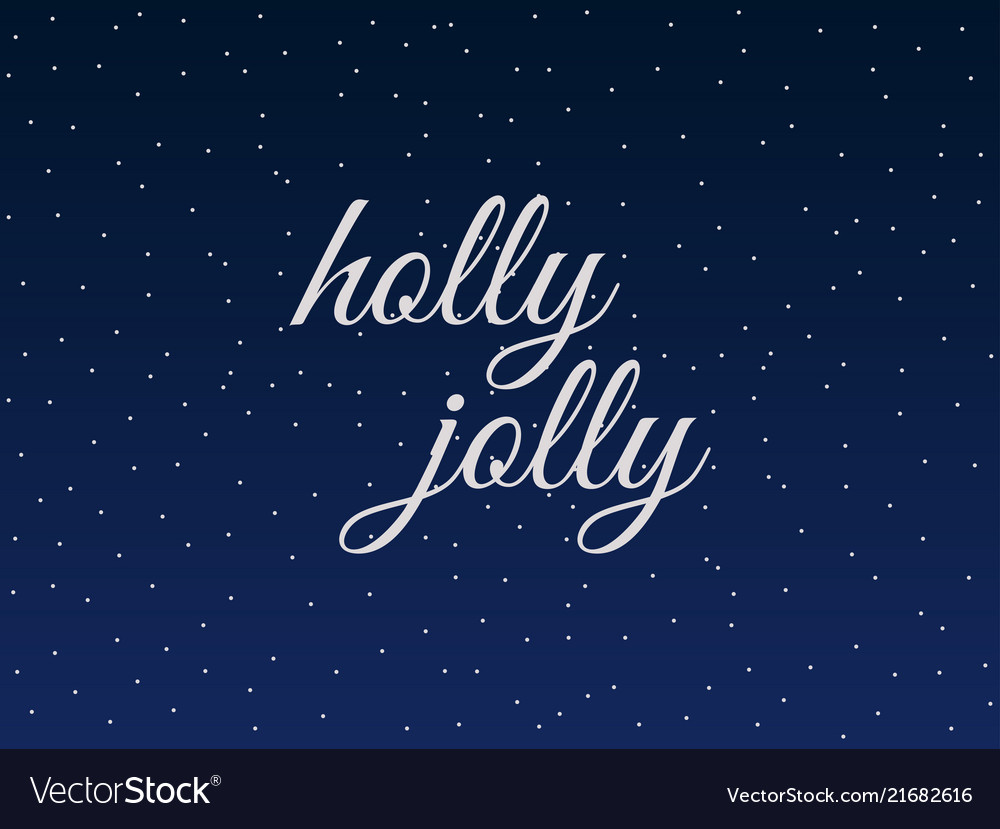 Holly jolly christmas lettering with snowflakes