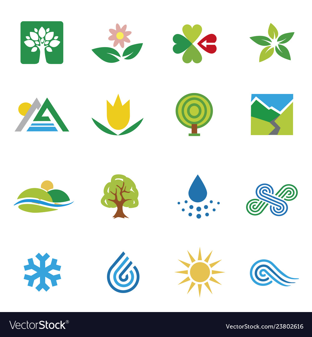 Icons nature landscape weather