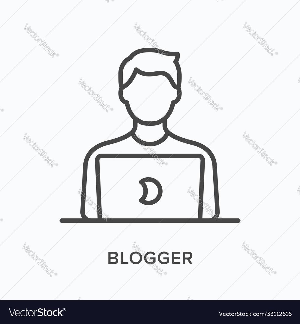 Man working on laptop flat line icon