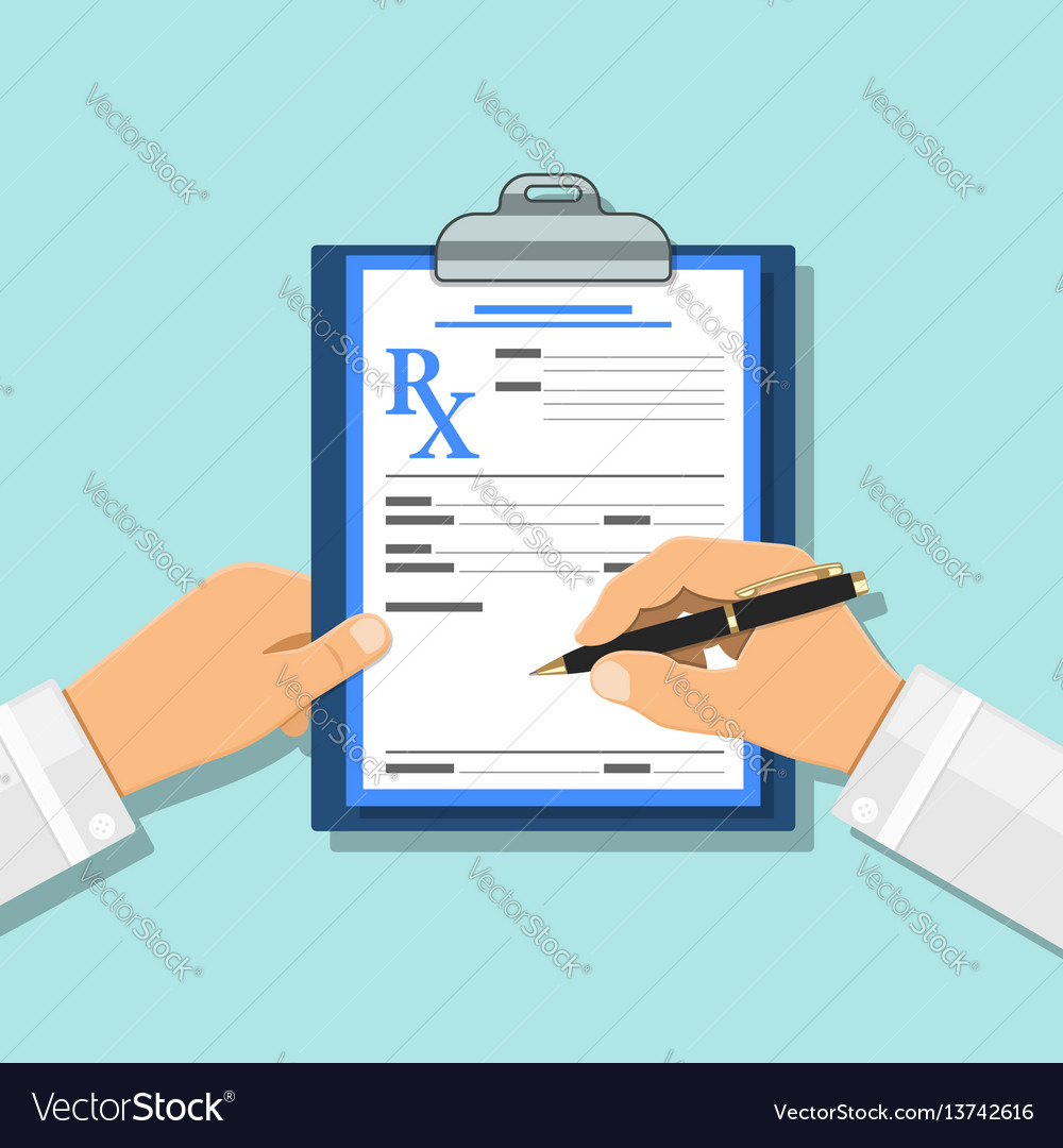 Medical concept with prescription on rx form vector image