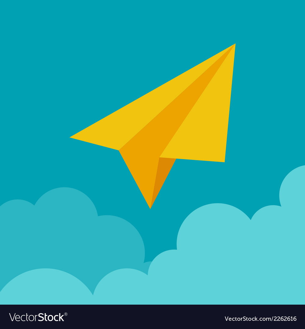 Paper plane on cloud concept in flat style