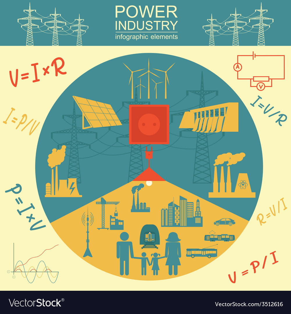 Power energy industry infographic electric systems