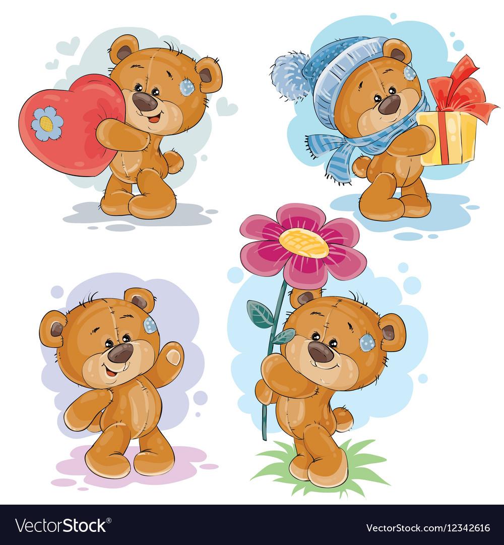 teddy bears vector  Set clip art of teddy bears Royalty Free Vector Image