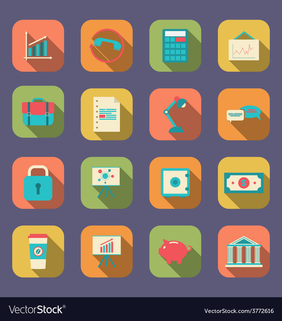 Set flat icons of web design objects business