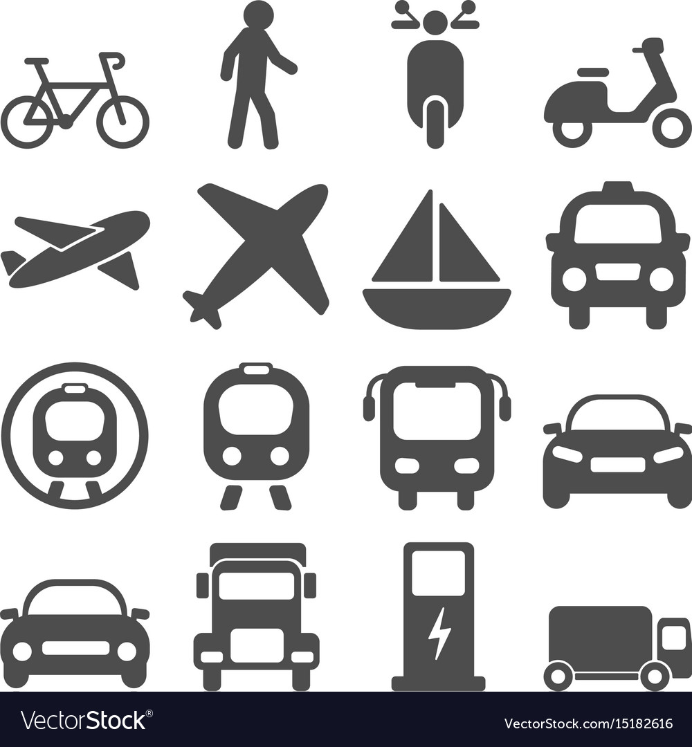 Transportation travels icons set vector image
