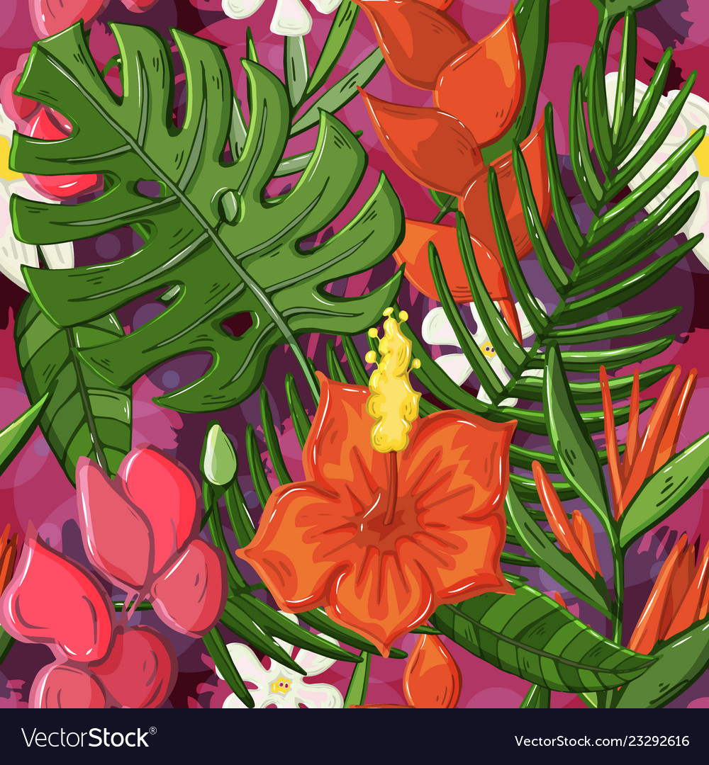 Tropical seamless pattern with monstera