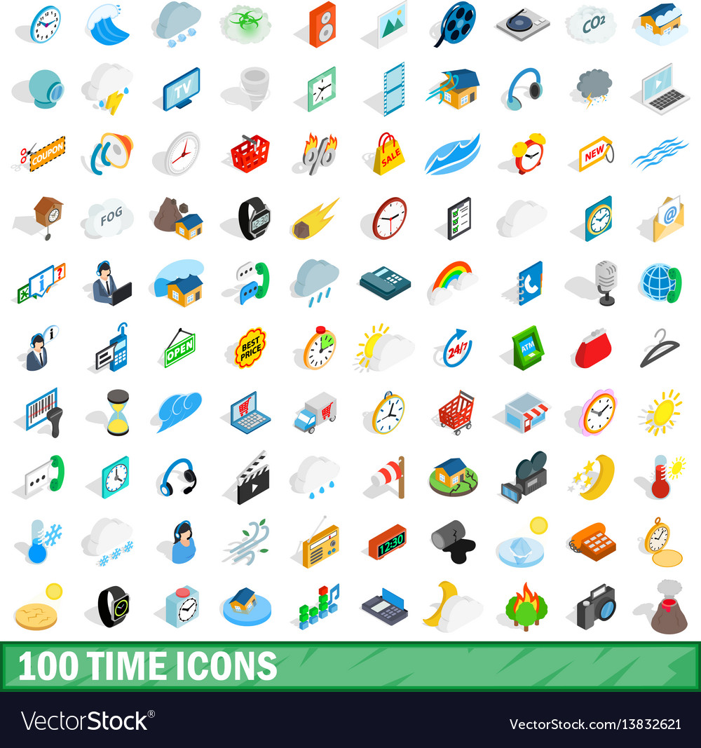 100 time icons set isometric 3d style