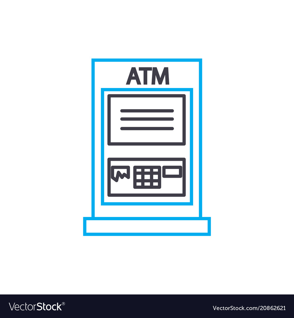 Atm transactions thin line stroke icon atm