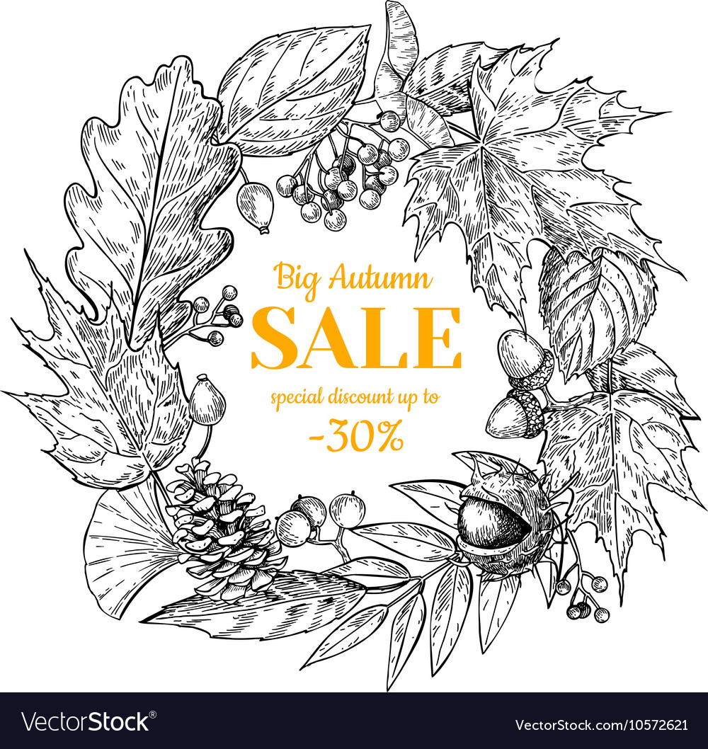 Autumn sale wreath banner with leaves and