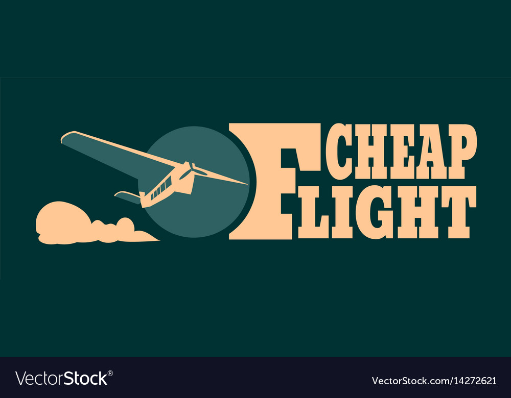Cheap flights card with cloud and airplane