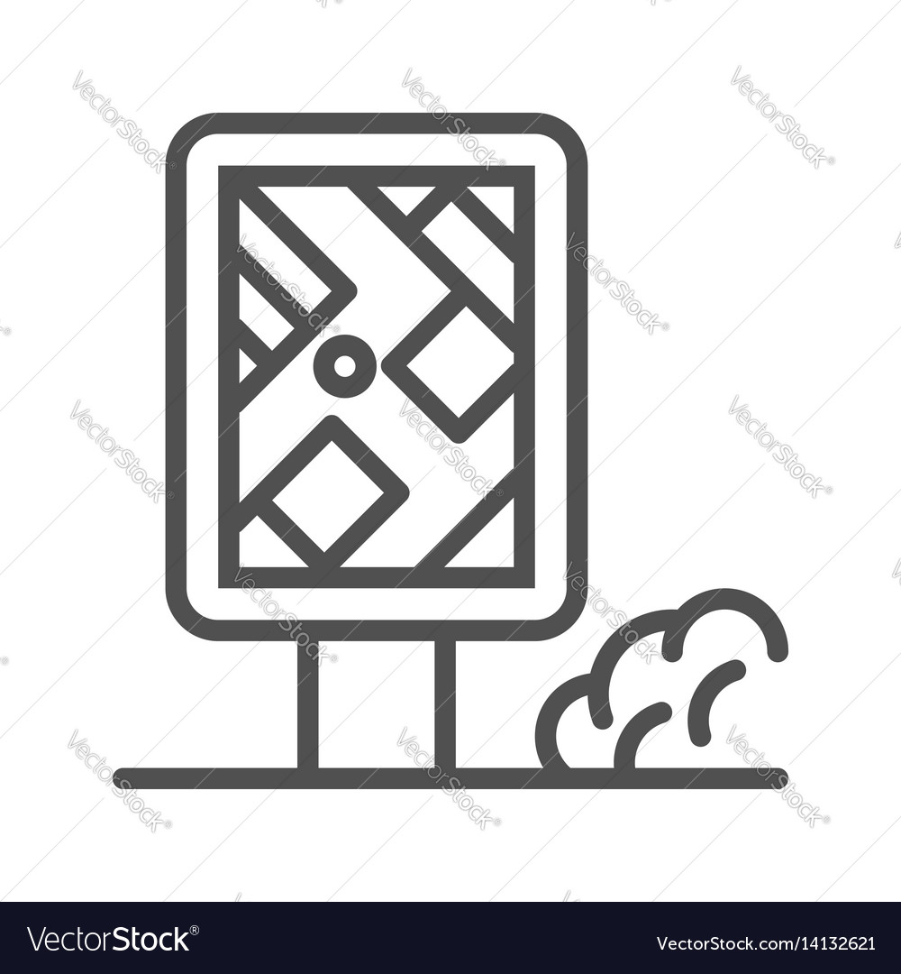 City map stand line icon vector image