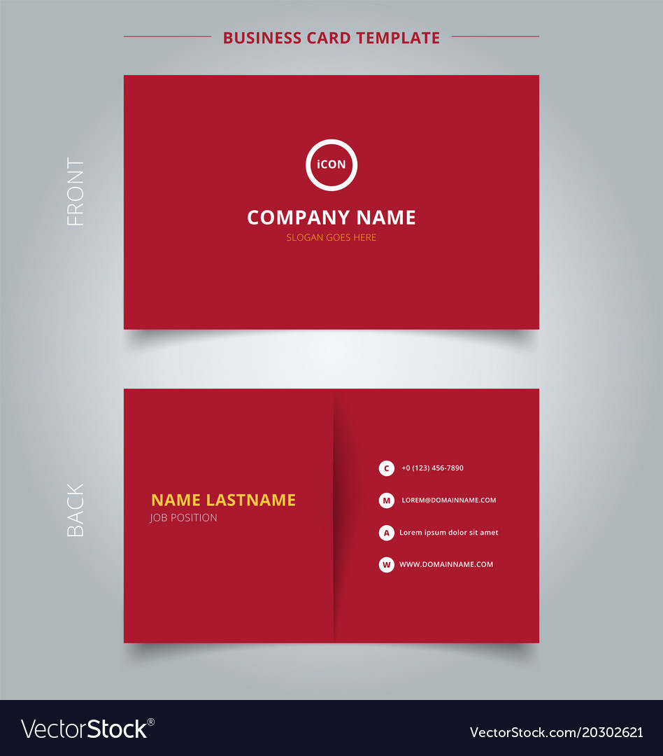 Creative business card and name card template red vector image accmission