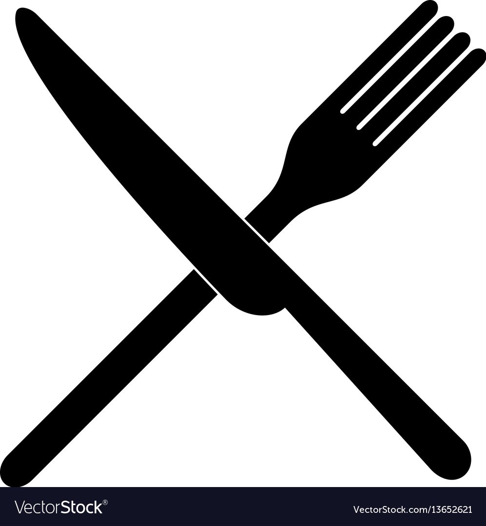 Crossed fork over knife vector image