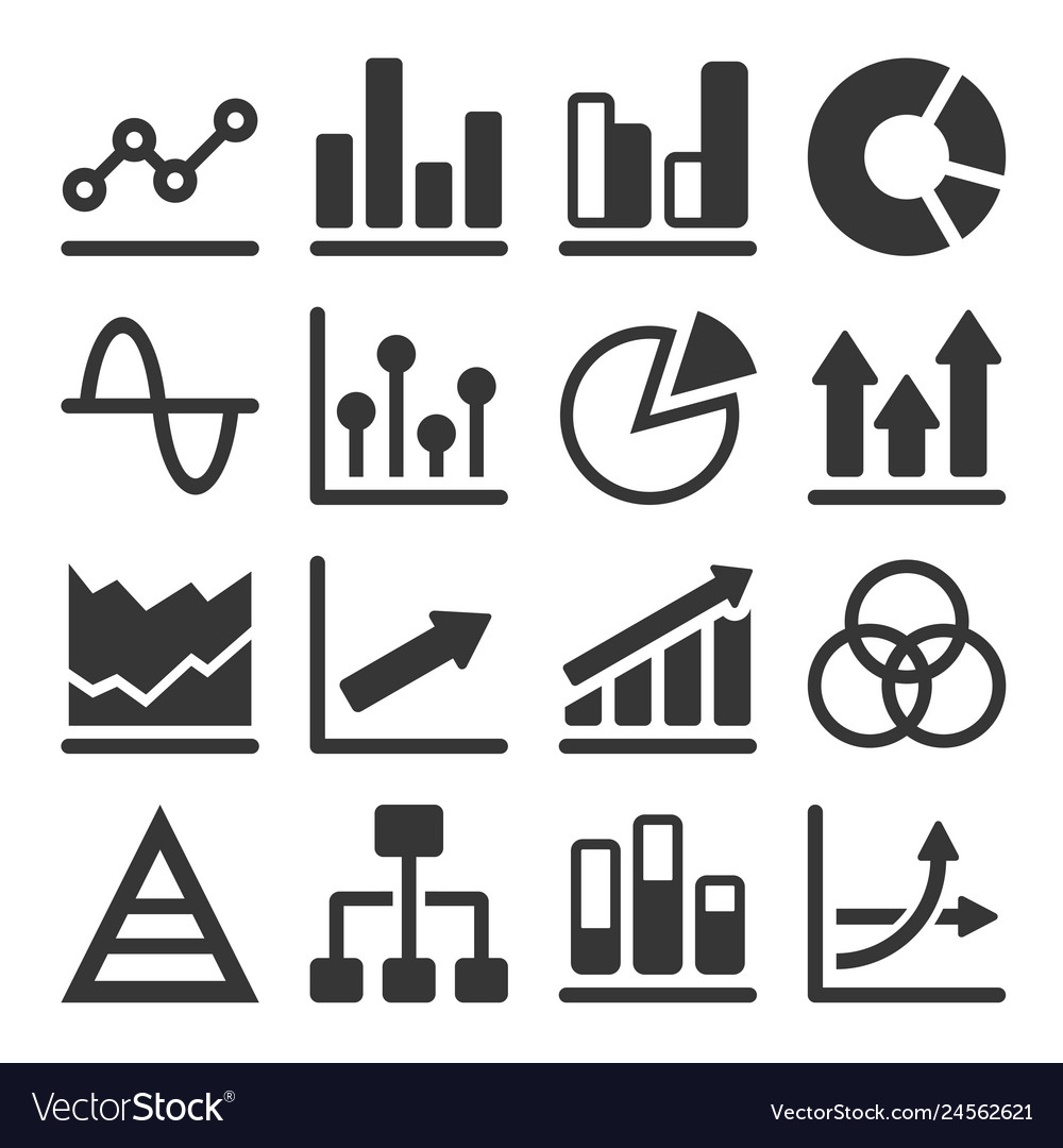 Diagram and graphs related icons set