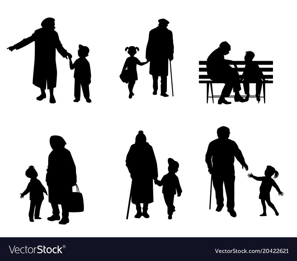 Elderly people with grandchildren