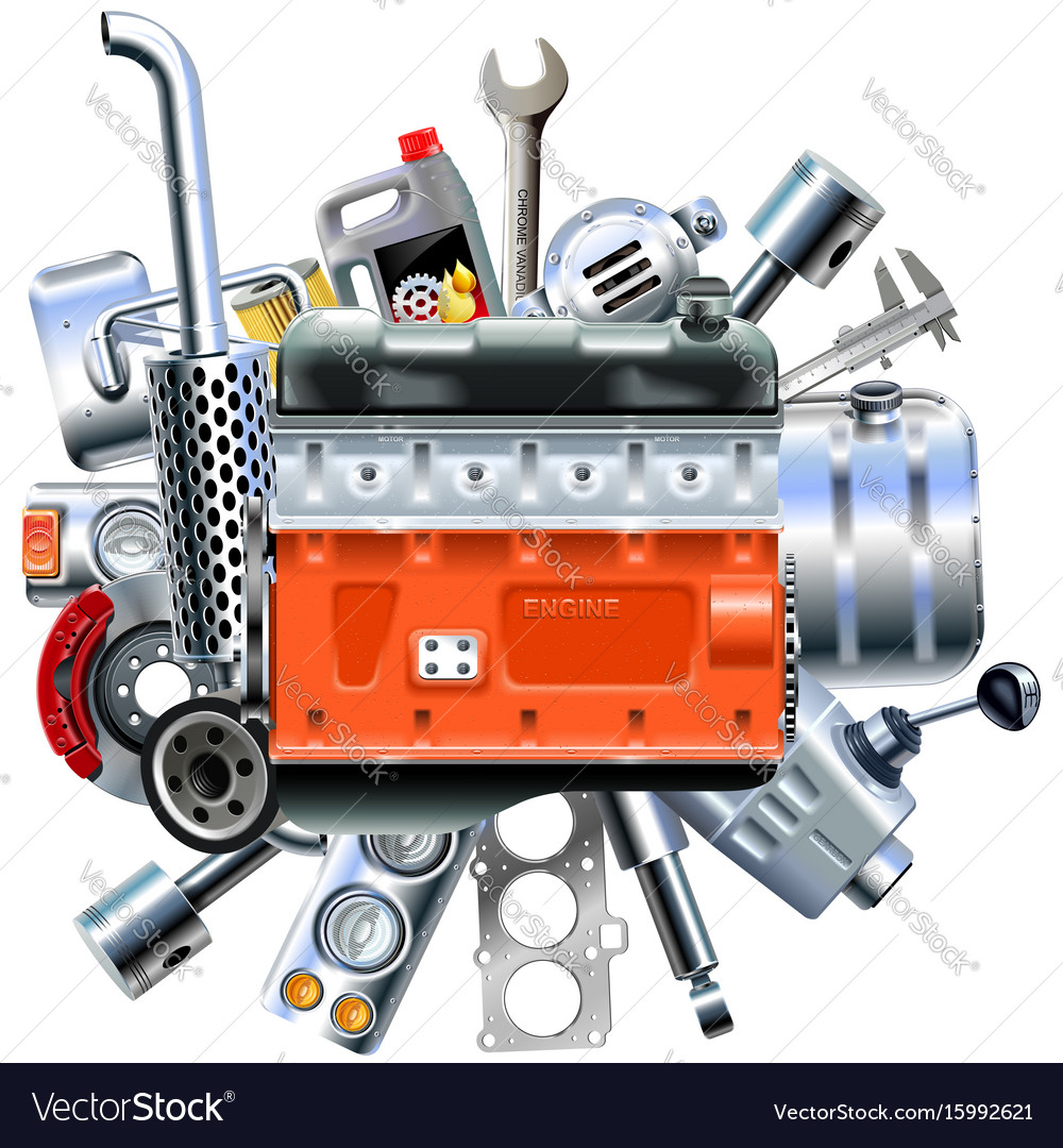 Engine with truck spares