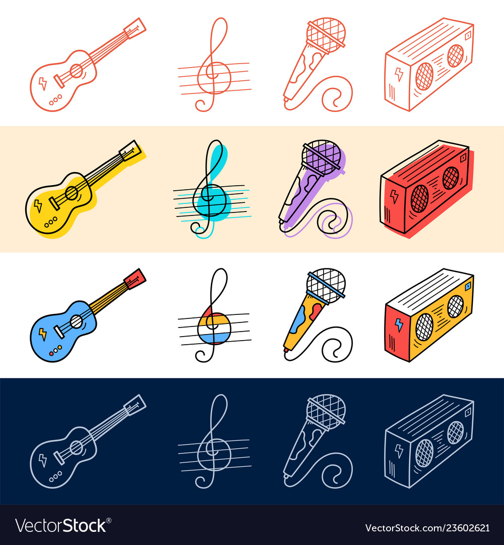 Hand draw guitar note microphone icon set in