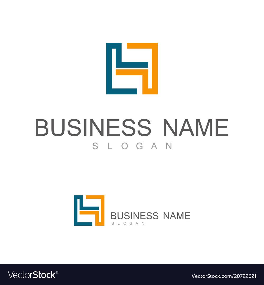 Line square letter h logo